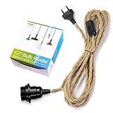 Portalámparas E27 con cable e interruptor, casquillo E27 vintage con cable de cáñamo de 4,5 m de cuerda de cáñamo, lámpara colgante con enchufe, para lámparas de pie, candelabros, PEBA