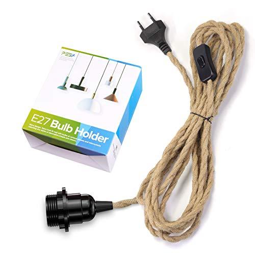 Lampenfassung E27 mit Kabel und Schalter, E27 Vintage Fassung mit 4,5 m Hanfseil Textilkabel, Pendelleuchte mit Stecker, für Stehlampen, Kronleuchter, PEBA