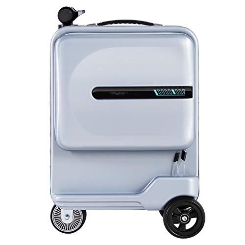 DJLOOKK Maleta de Viaje eléctrica Bolsa Maleta de Viaje Inteligente con Ruedas Caja de Viaje con Ruedas Maleta Solo 7.5 kg Cabina de Scooter Llevar con batería extraíble,Plata