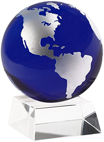Amlong Crystal 3 Inch Blue Globe with 2 Inch Crystal Stand and Gift Box