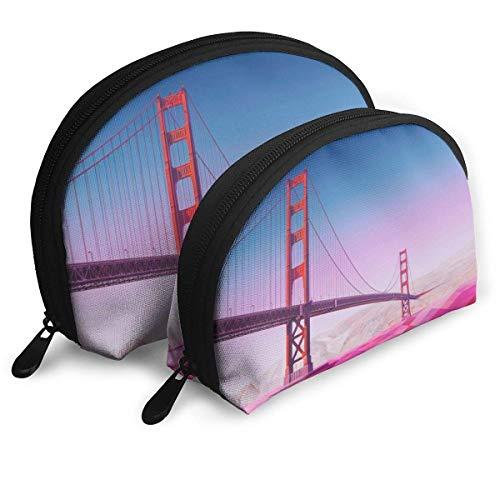 Ensemble de Trousse à Maquillage Golden Gate Bridge pour Le Voyage et Le Rangement Quotidien - Trousse de Toilette Pratique en Forme de Coquille