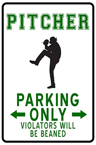 Baseball Pitcher Parking Only Funny Sign Cool Wall Decor Art Print Poster 12x18
