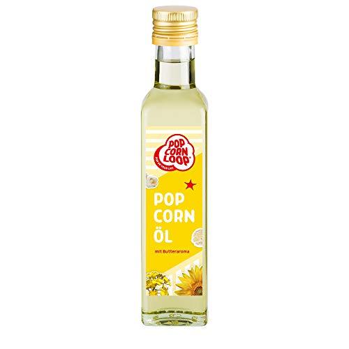 Popcorn Öl für Mais 250 ml Hocherhitzbar Butter High Oleic Fett mit Butteraroma Buttergeschmack Oil Omega Hocherhitzbares Bratöl Popcornmaschine Zucker Salz Rapsöl Sonnenblumenöl