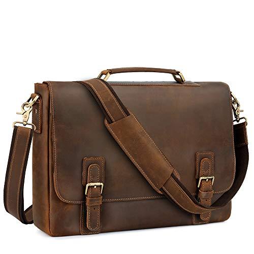 Kattee Men's Leather Satchel Briefcase, 15.6