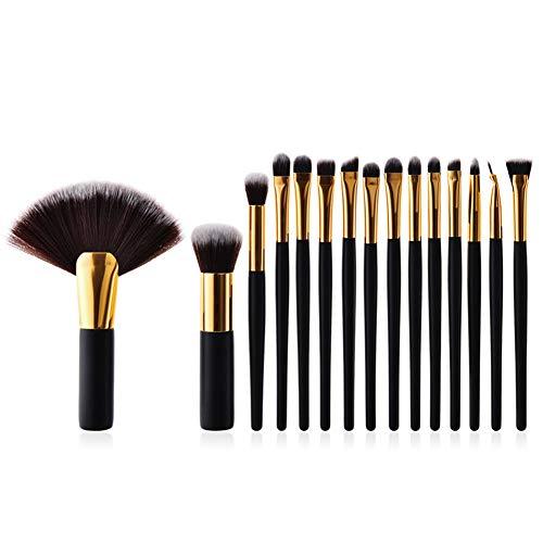 Weimay Kosmetik Pinsel Foundation Brush Mädchen Kosmetik Tragbare Schönheit Werkzeuge Holzgriff Pinsel Schwarz Griff Gold Tube Pack von 15