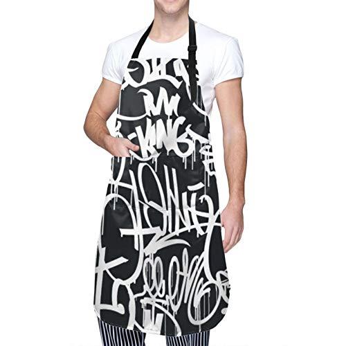 Ajustable Colgante de Cuello Personalizado Delantal Impermeable,Etiquetas de Graffiti Street Art Hip Hop - Blanco y negro,Babero de Cocina Vestido para Hombres Mujeres con 2 Bolsillos Centrales