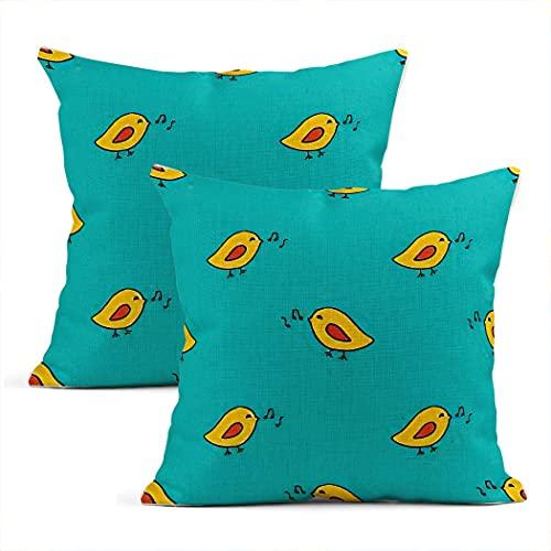 Juego de 2 fundas de almohada de algodón con diseño de pájaros cantantes y pájaros de Kawaii, para el hogar, decoración de la sala de estar, dormitorio, sofá, silla, 16 x 16 pulgadas
