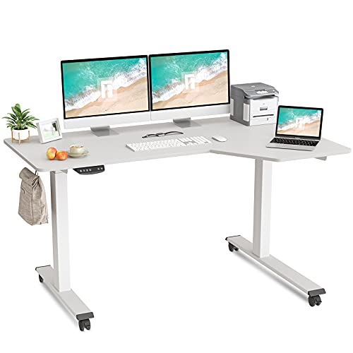 FEZIBO L-Shaped Electric Standing Desk, 55 Inch Height Adjustable Stand up Table, Sit Stand Desk with Splice Board, White Frame/White Top