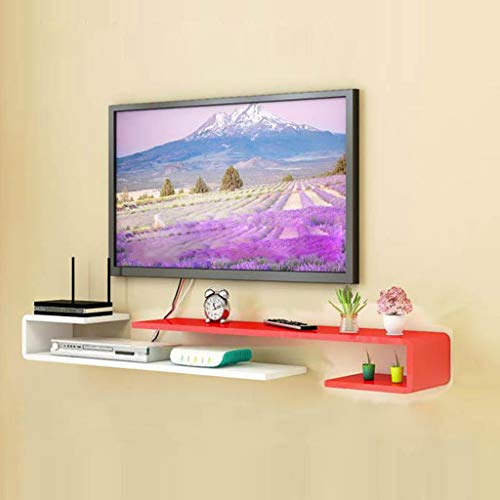 Wandmontage TV Plank Slaapkamer Woonkamer Wandplank Multimedia Opbergplank TV Achtergrond Wanddecoratie Plank Multifunctionele Display Plank, 150cm-155cm, Rood Wit