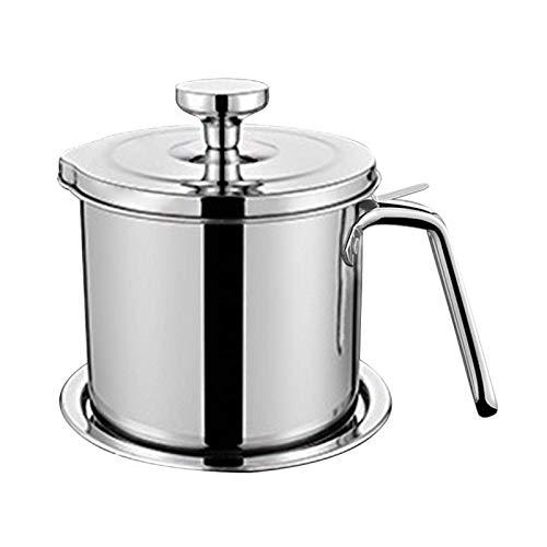 POHOVE 1.3L Bacon Grease Behälter, Edelstahl Fett Halter, Braten Öl Und Kochen Fett Rostfrei Küche Kochen, Große Kapazität Easy Speichern für Alle Küche Fett - Silbern, Free Size