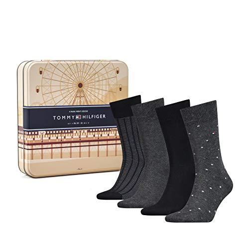 Tommy Hilfiger Th Men Ss19 Giftbox 4p Calcetines, Negro (Black 200), 39/42 (Talla del fabricante: 039) (Pack de 4) para Hombre