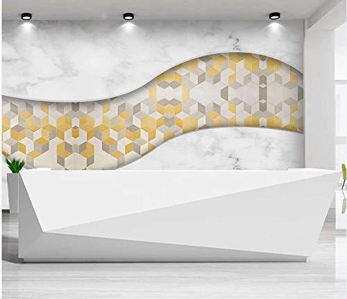 Papel tapiz fotográfico Onda De Celosía Amarilla De Mármol Gris Blanco 250x175 cm -5 pieces papel pintado de tejido-no-tejido,Lana Fondo De Pantalla Moderna Decoración De Pared