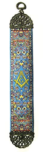 Square & Compass Blue Tapestry Masonic Bookmark - [9'' x 2'']