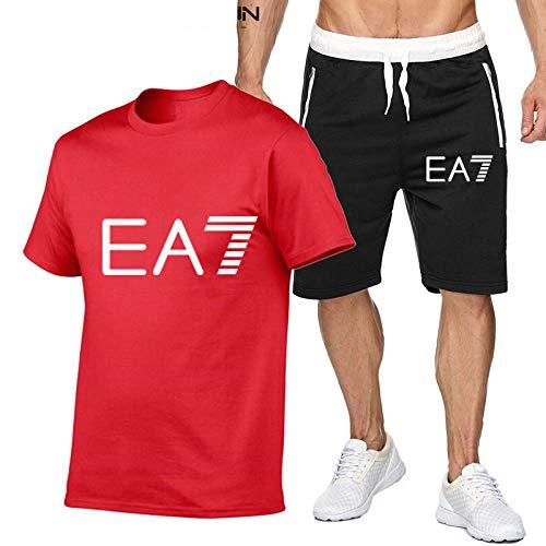 DREAMING-Primavera y verano, cuello redondo, deportes transpirables para hombres, manga corta, jogging, camiseta casual, top + traje corto S