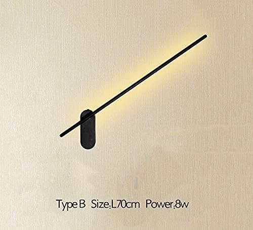 WHEEJE Lámpara de Pared Nórdica, Lámpara Barthoom Lámpara de pared moderna negra 70 cm 8W de la pared de la pared de la pared de la pared del escoce para la luz de la cama Luz de la sala de estar del