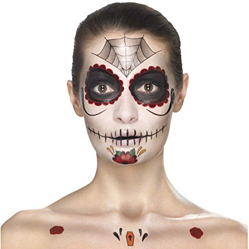NET TOYS Schminkset Dia de los Muertos Makeup-Set Sugar Skull mehrteilig rot-schwarz Calavera Beauty Kit Tag der Toten Tattoo-Set Halloween Schminke Mexikanische Totenmaske schminken