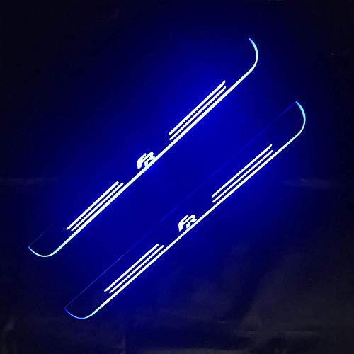 4PCS LED móvil Pedal de Bienvenida Placa de Desgaste del Coche Pedal Umbral Puerta Sill Pathway Light, para Seat Leon Arona ATECA FR-Rear 2pcs Azul