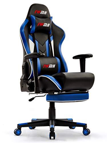 IntimaTe WM Heart Gaming Stuhl, Ergonomischer Gamer Stuhl mit Fußstütze, PC Racing Bürostuhl, PU Leder Drehstuhl mit Hoher Rückenlehne Massage Lendenwirbelstütze, Schwarz & Blau
