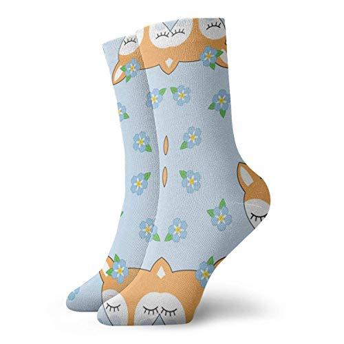 leyhjai Patrón floral de calcetines atléticos de flores de amapola, calcetines unisex a media pantorrilla