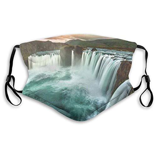 Majestic Islandia cascada que fluye por el río Northern Magical Nature Photo Face M-A-S-K lavable Bandana para adultos hombres mujeres