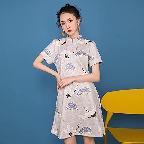 CIDCIJN Vestido Chino - Estampado Ropa Oriental Tradicional Slim Qipao Mujeres Estilo Chino Cheongsam Elegante Moda Mini Vestido, Azul, L