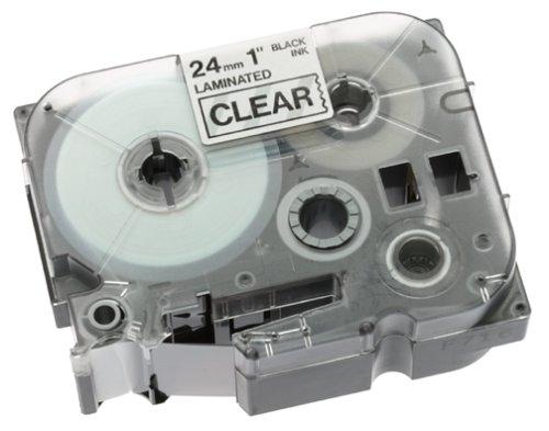 Brother Gloss Laminated Labelling Tape - 24mm, Black/Clear TZ Nastro per etichettatrice