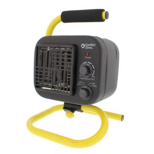 Comfort Zone PowerGear CZ250 1500 Watt All-Purpose Utility Shop Heater with Tubular Stand, Black