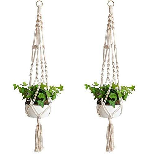 VNDEFUL 1 pieza macramé colgador de plantas para interiores y exteriores macetas colgantes cuerda de algodón