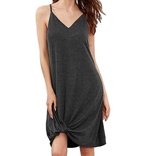 Koaby Damen Mode lässig A-Linie Rock Sling Knotted Dress Home Wear Nachthemd Geschenke für Frauen