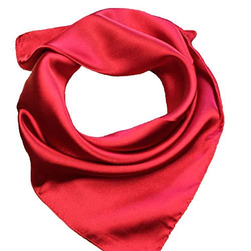 RongShi Classic Red Bufanda de seda como accesorio para el cabello cabeza abrigo bufandas pañuelo Headwear
