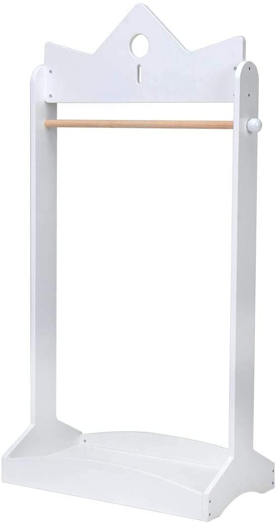 JOLIE VALLÉE TOYS & HOME 2-in-1 Kids Wood Armoire Wardrobe Crown Clothes Rack, White Baby Clothes Storage Rack Standing Closet, Boutique Clothes Rack Organizer for Toddler Girls 2-5 Years