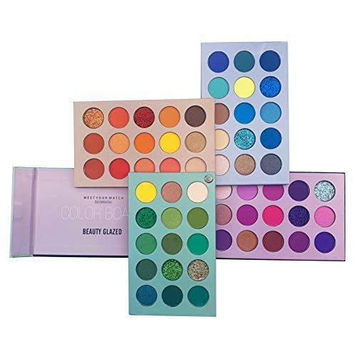 Weixinbuy 60 Couleurs Palette Fard À Paupière Maquillage,Palette Ombres à Paupière 4 en 1 Ultra Pigmentées,Matte Shimmer Natural, Imperméable Longue Durée
