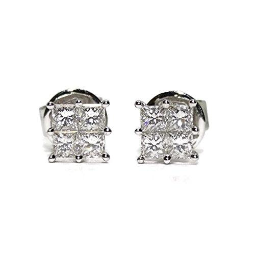 Pendientes de 0.75Cts de diamantes talla princesa. 6mm x 6mm. presión Never say never