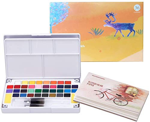 LURICO Acquerelli Professionali, 36 Colori Set Pittura ad Acquerelli Solidi per Principianti e Artisti, Include Scatola di Acquerelli, Penna ad Acqua e Cartella Colori