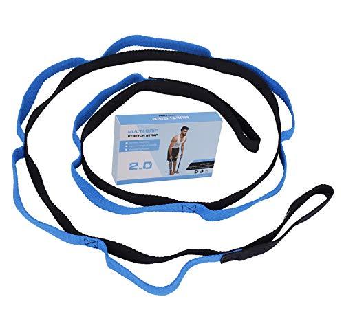 MengH-SHOP Fitness-Yoga-Gurte Flexibility Gymnastik-Gurt mit 10 Schlaufen Multifunktionaler Fitnessbänder Geeignet für Yoga,Tanzen, Ballett & Training mit Übungsanleitung Blau 200cm