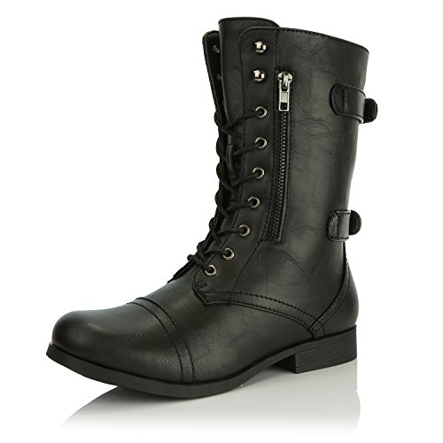 DailyShoes Women's Military Ankle Lace Up Buckle Combat Boots Mid Knee High Booties, Black Pu, 8 B(M) US