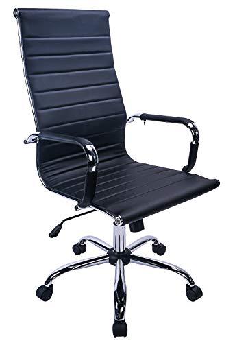 Exofcer Bürostuhl Weiß PU Leder Office Chair Schreibtischstuhl Computerstuhl Höhenverstellbar Chefsessel Drehstuhl (Schwarz)
