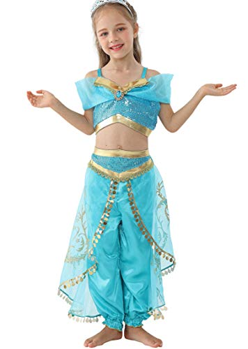 Lito Angels Mädchen Jasmin Kleid Prinzessin Kostüm Bauchtanz Weihnachten Halloween Verkleidung Karneval Party Outfit Größe 8-9 Jahre A