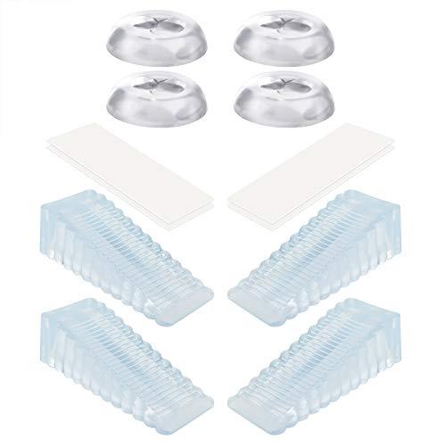 Burkal - Juego de 4 topes para puerta + 4 pomos de puerta para parachoques, protector de pared, cuñas de goma portátil y gel absorbente de golpes, tope de puerta pesado