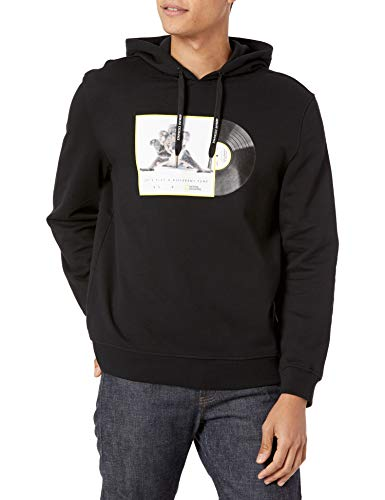 ARMANI EXCHANGE Black Koalas Hooded Sweatshirt Felpa con Cappuccio, M Uomo