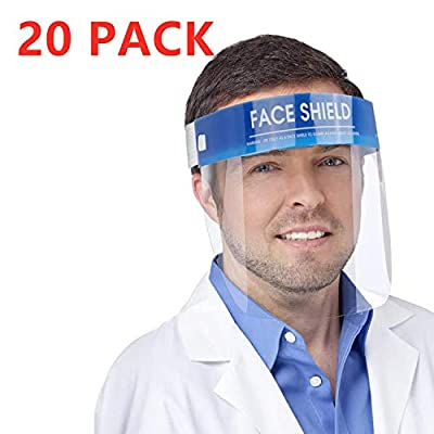 ?FDA Approved?20 Pack Safety Face Shield Medical Full Face Protect Eyes and Face Plastic Dental Face Shield with Protective Clear Film Elastic Band and Comfort Sponge Ideal for Kids Adults