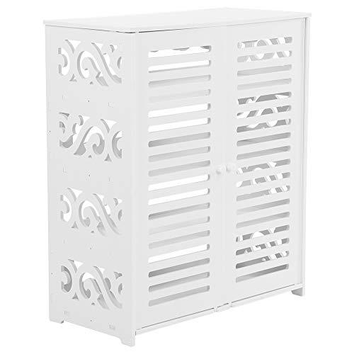 AYNEFY Zapatero de madera, organizador de madera con 4 estantes para salón, dormitorio, estudio, armario de tierra de madera con 2 puertas estilo persa, 63 x 30,8 x 75,8 cm