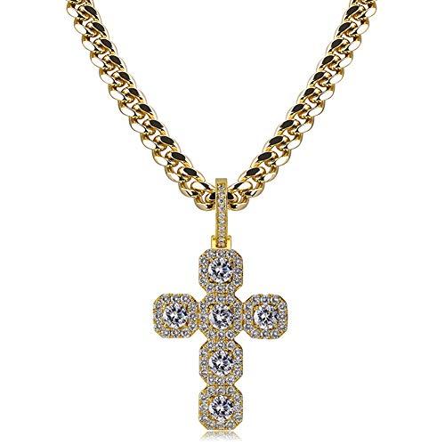 Collar Colgante súper Grande de Hip-Hop de 92 mm de Altura, Hebilla Grande de Cobre con Incrustaciones de Collar Colgante de circón (Oro, Plata)-gold-22inch