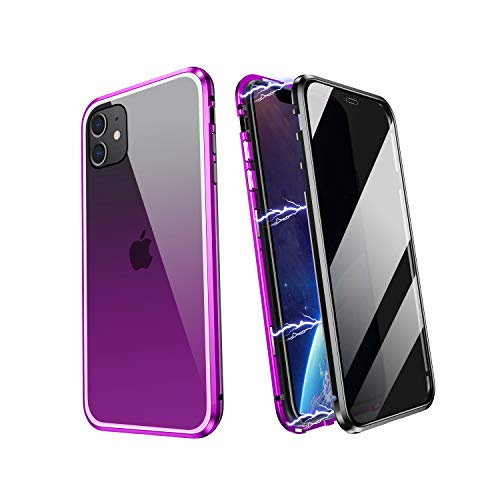 YUNQE Compatible with iPhone 11 Case,Screen Protector Free Anti Peep Magnetic Phone Case Luxury Double Sided Protective Hard Cover Metal Frame with Camera Lens Full Body Protection,Purple