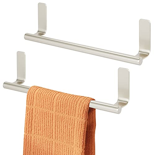 mDesign Decorative Metal Kitchen Self-Adhesive, Wall Mount Towel Bar - Storage and Display Rack for Hand, Dish and Tea Towels - Stick on Inside or Outside of Doors, 9' Wide, 2 Pack - Satin