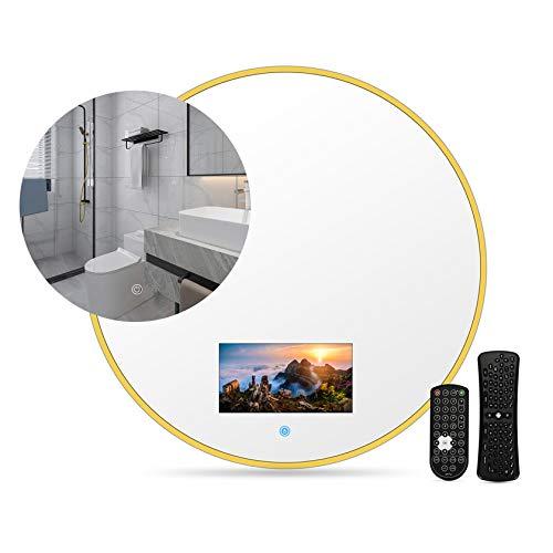 Specchio per trucco illuminato Smart Touch, elegante bagno IP66 impermeabile con cornice dorata Mini TV LED HD pronto con on-demand online, trasmissione dal vivo, può giocare, con WIFI,60*60cm
