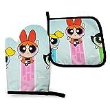 Guantes y soportes para ollas HGFK: lindos guantes de cocina y guantes de cocina resistentes al calor de las chicas superpoderosas