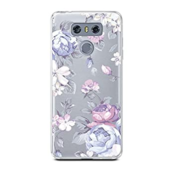 CasesByLorraine Compatible with LG G6 Case Purple Floral Flower Pattern Clear Transparent Flexible TPU Soft Gel Protective Cover for LG G6  2017
