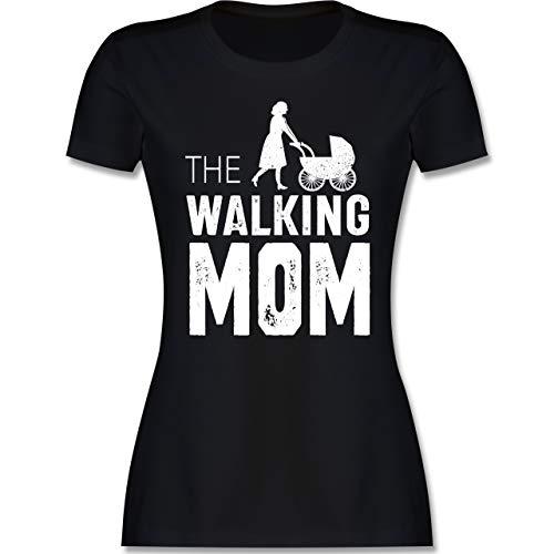 Muttertagsgeschenk - The Walking Mom weiß - M - Schwarz - mom Tshirt Damen - L191 - Tailliertes Tshirt für Damen und Frauen T-Shirt