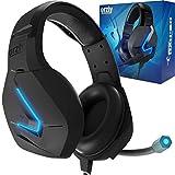 Orzly Auriculares Gaming Compatible con PS5, PS4, PC, Xbox, Nintendo Switch, con microfono, Sonido Premiun RGB Luz LED, cancelación de Ruido - Hornet RXH -20 Abyss Edicion